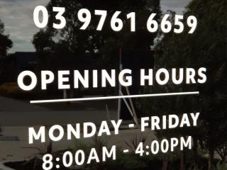 Laser Cut Opening Hours Door Sign