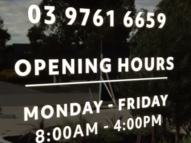 Laser Cut Opening Hours Door Sign