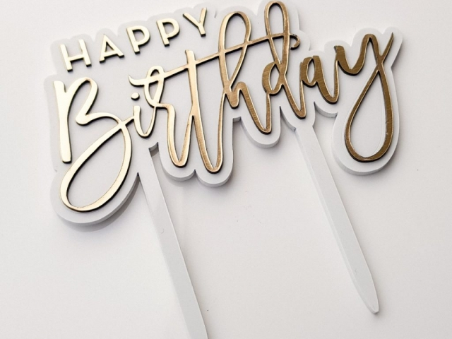 Laser Cut Birthday Cake Topper