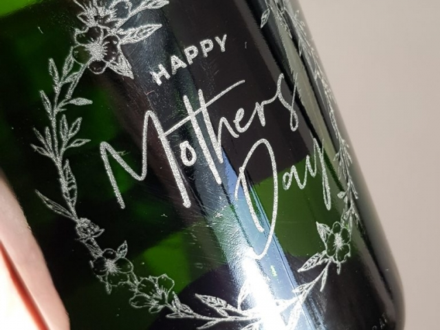 Custom Engraving onto wine bottle