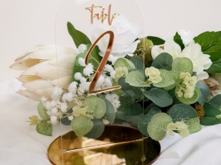 Mirror Gold and Clear Acrylic Table Number