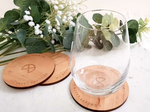 Custom Laser Engraved Solid Wood Drink Coasters