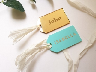 Laser Engraved and Laser Cut Luggage Tag Name Place Card