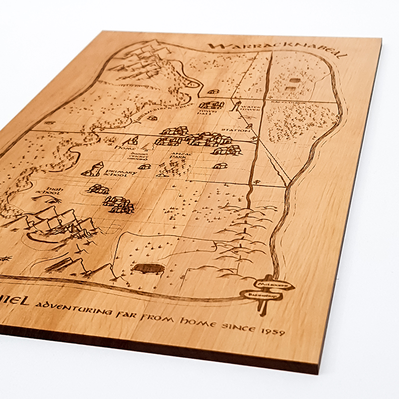 Custom map artwork engraved into solid wood