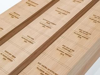 Laser engraved timber for Custom Trophies