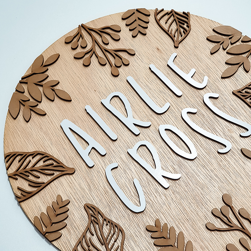 Laser Cut wooden name sign for a nursery