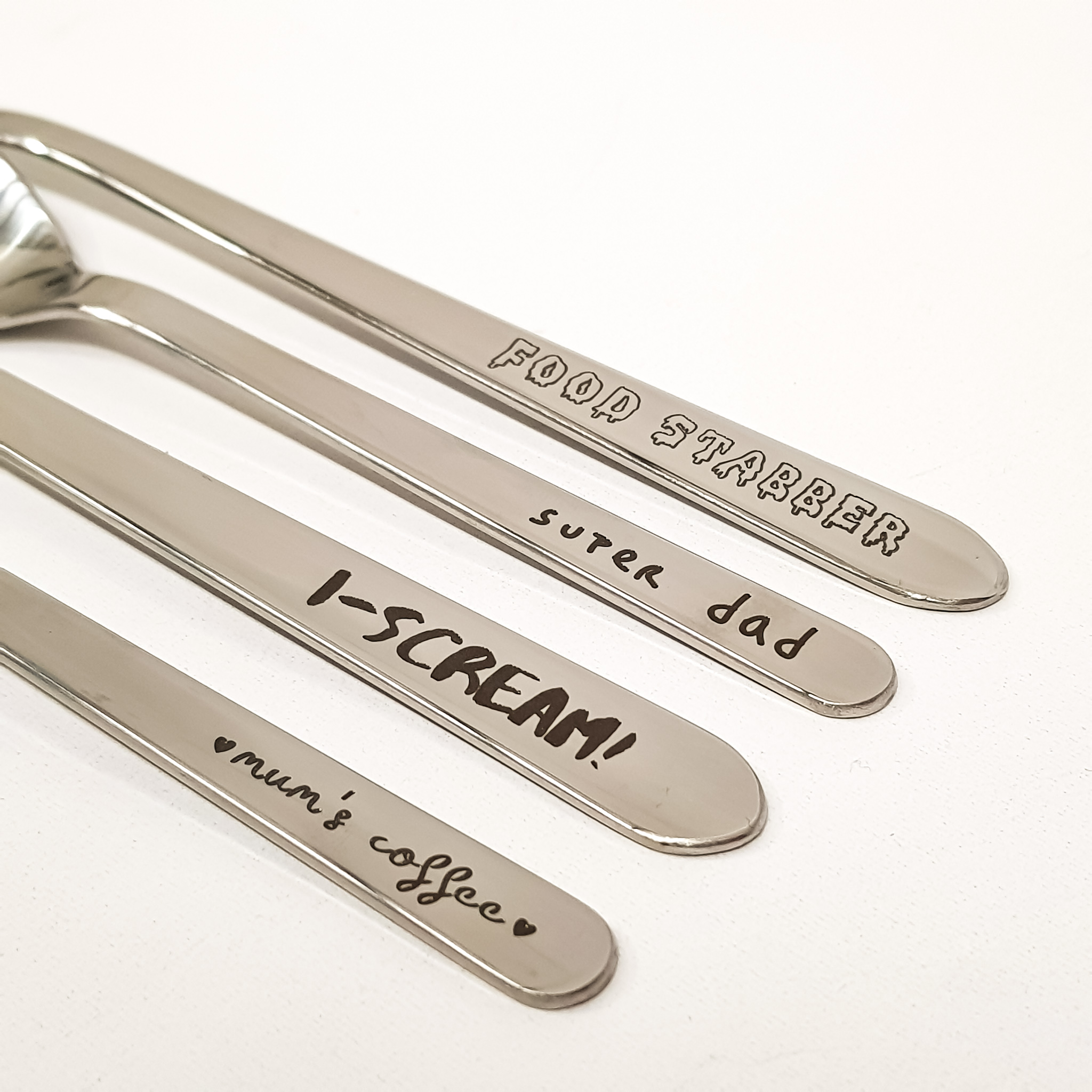 Laser Engraved Cutlery with puns and cute sayings