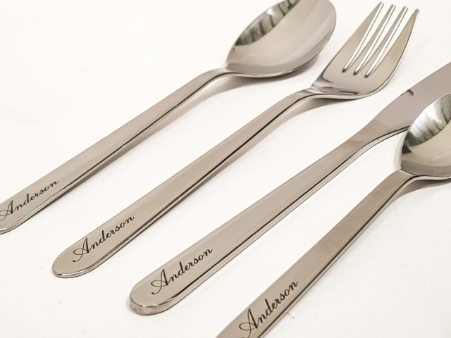 Personalised Cutlery laser engraved with families last name
