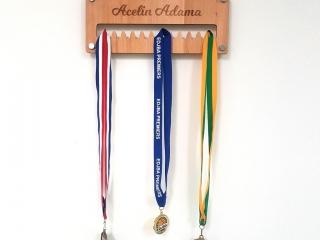 Medal Hanger Engraved and Cut in Alder Wood