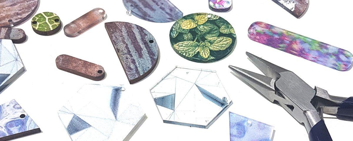UV Printed Wood and Acrylic Jewellery Elements